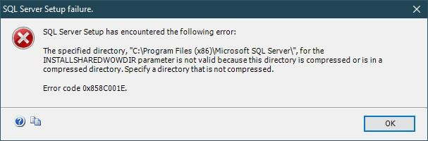 sql server setup failure