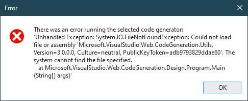 could not load file or assembly Microsoft.VisualStudio.Web.CodeGeneration.Utils